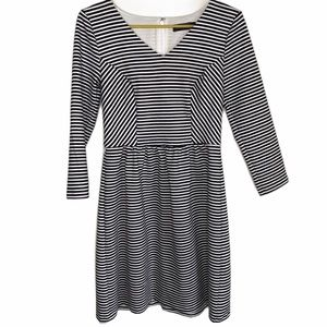 The Limited Black and White Striped Ponte Dress